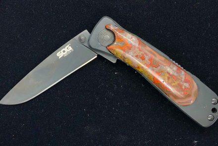 Flame Agate Handled Knife (SOG)