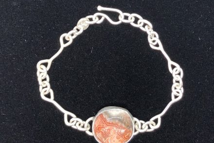 Bracelet, Sterling Silver with Lace Agate