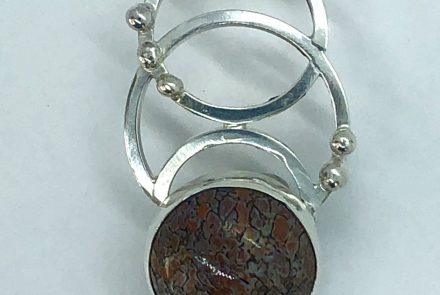 Circles!  Sterling with Gem Dino (agate) in Lavender Color