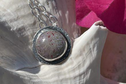 Dino Gem Agate, Sterling Silver Pendant