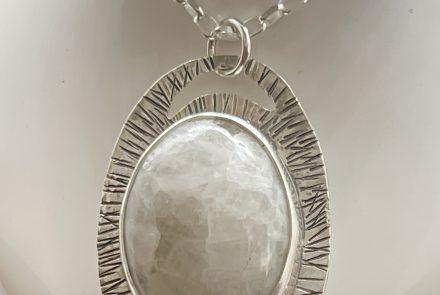 Rainbow Moonstone Pendant set in Sterling Silver