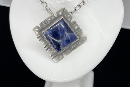 Beautiful Blue Sodalite and  Sterling Silver Pendant