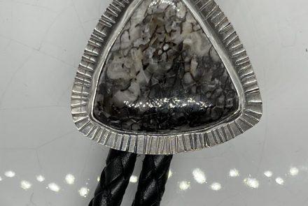 Gem Dino Agate Bolo Tie in Black and White