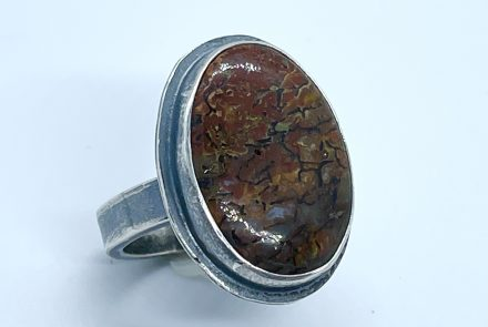 Gem Dino Agate Ring with Sterling Silver